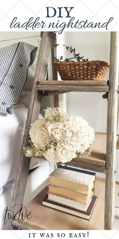 Love this idea of turning an old ladder to a nightstand. This is really cute!
