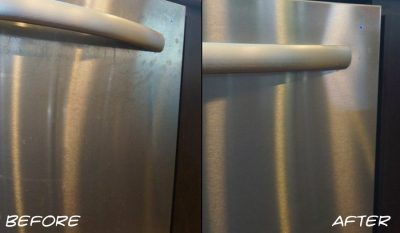 Olive oil can be used as an all natural polish for cleaning your stainless steel appliances! Look at these results! Amazing!