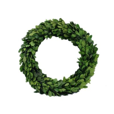 A lovely preserved boxwood wreath that would look great outside on the front door or in the home to compliment any farmhouse decor setting.