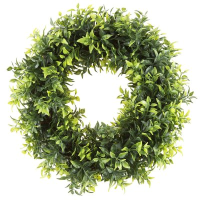 I love this boxwood wreath! It's the perfect decor item for my farmhouse kitchen!