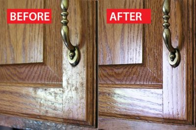 Scrub grease from your cabinets with a baking soda paste.