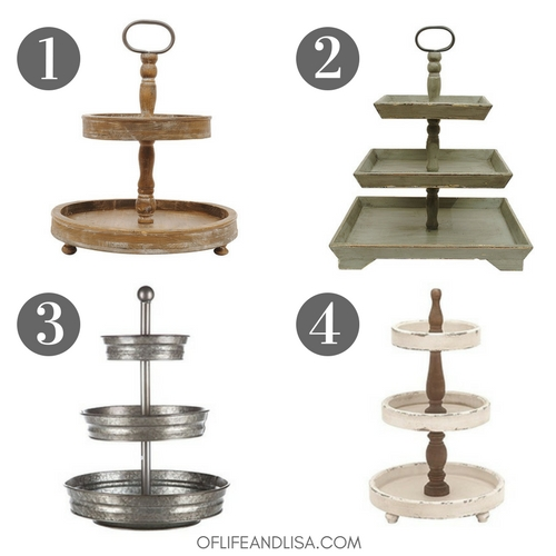 A great selection of rustic tiered trays for your farmhouse vignette.