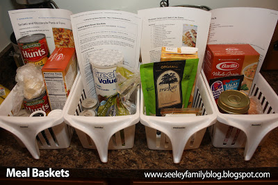 Plan your weekly meals out and place them in meal baskets to save time and money.