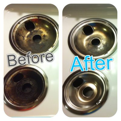 Clean your stove's burner pans overnight in a bag of ammonia to get them sparkling clean.