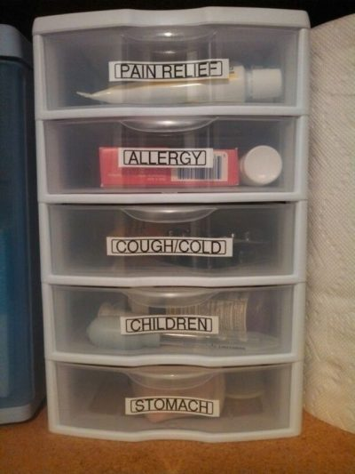 Use labeled plastic containers to organize your medicine.