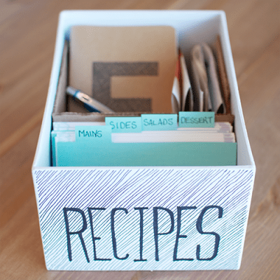 Make your own little box to store and organized recipes.