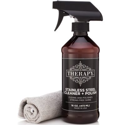 Clean your stainless steel effortlessly with the Therapy Stainless Steel cleaner.