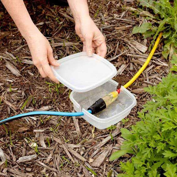 If having a summer party, cover your extension cords with a plastic container to prevent them from getting wet. #summer #bbq