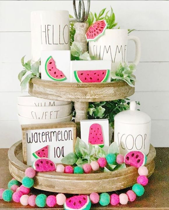 Watermelon tray vignette for summer