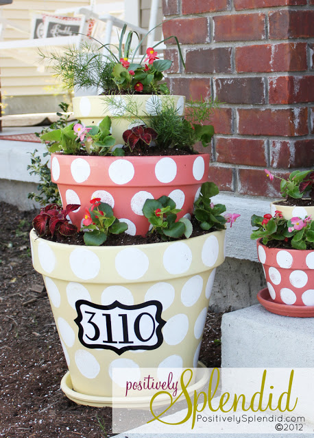 polka dot tiered planters - 7 Cheap and Easy DIY Porch Decor Ideas for Summer