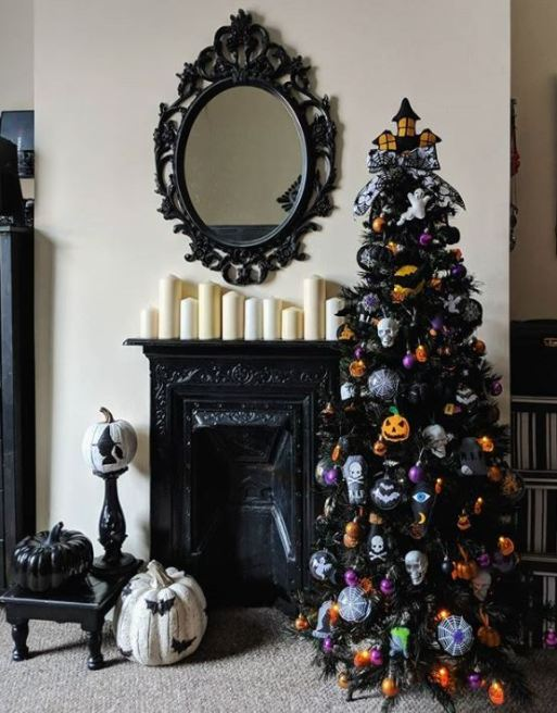 black halloween tree idea - 18 Best Halloween Christmas Tree Decorating Ideas for 2019