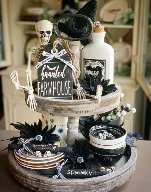 halloween tiered tray decor 5 - 19 Fabulous Halloween Tiered Tray Decor Ideas
