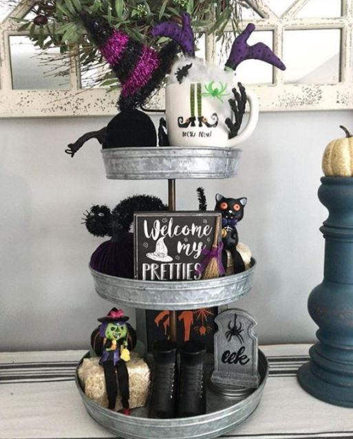 halloween witch tiered tray - 19 Fabulous Halloween Tiered Tray Decor Ideas