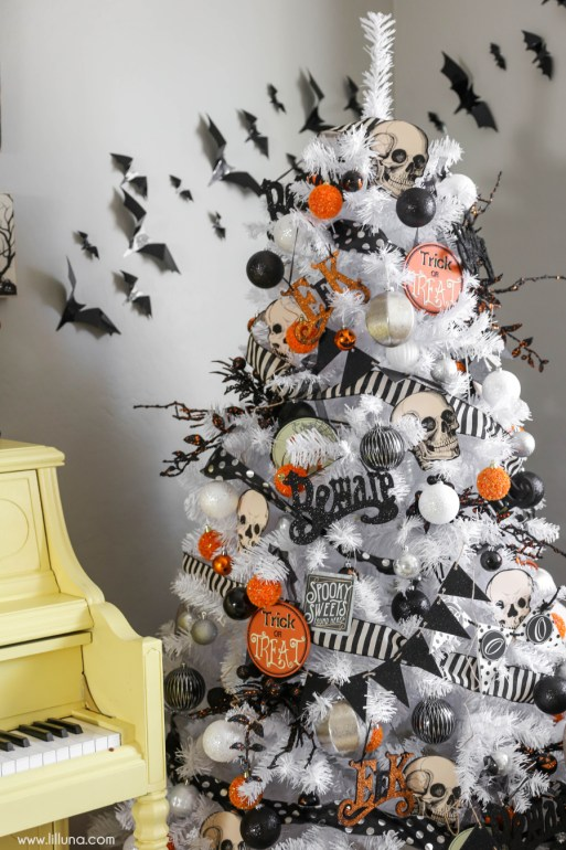 skulls halloween tree - 18 Best Halloween Christmas Tree Decorating Ideas for 2019