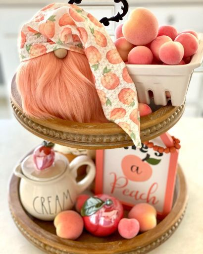 Peach tiered tray