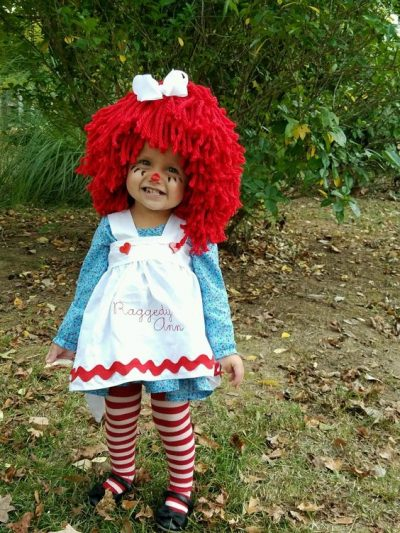 This costume is so adorable! Raggedy Ann Halloween costume for toddler girl
