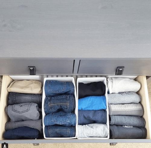Organize your toddlers clothes in dresser drawer using bins. | 9 Ways to Organize Toddler Bedroom on a Budget