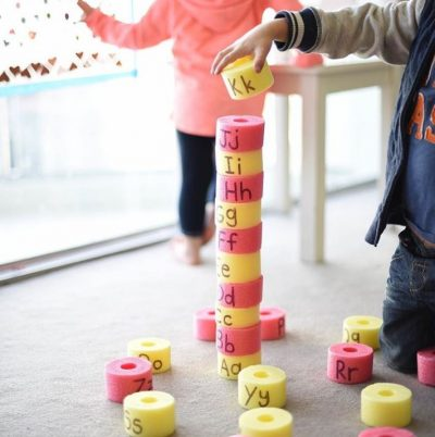 Write letters of the alphabet on pool noodles then... | 10 Indoor Toddler Activities