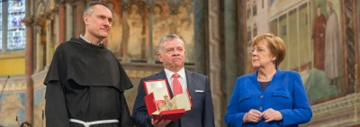 King Abdullah II of Jordan receives the Lamp of Peace Award in Assisi