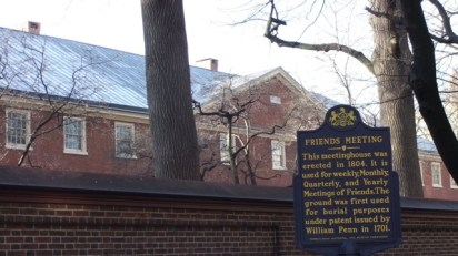 One of the sites of early Quaker meeting houses in the colonies set up to accommodate religious freedom (Arch Street Meeting House)