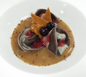 Chocolate Tortellini with Salted Caramel Sauce, Mixed Berries Coulis and Honeycomb