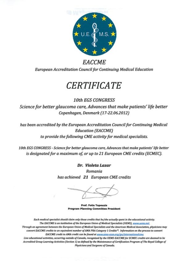 EACCME Certificate - Cabinet Oftalmologic