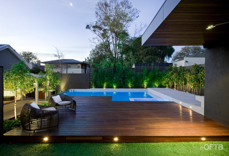 OFTB Melbourne landscaping pool design  construction project  pool inc window spa raised