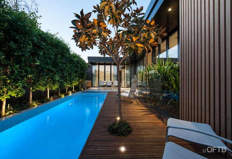 OFTB Melbourne landscaping pool design  construction project  plunge pool inc water wall