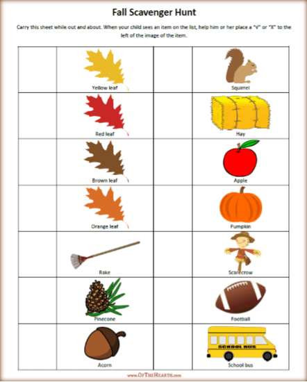 picture about Fall Scavenger Hunt Printable called Tumble Scavenger Hunt Printable