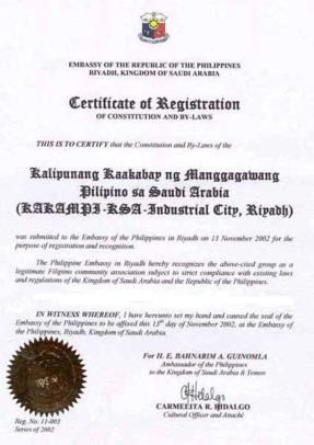 Certificate of Registration (KAKAMPI-KSA)