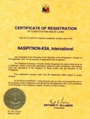Certificate of Registration (Nasipitnon-KSA, Int'l.)