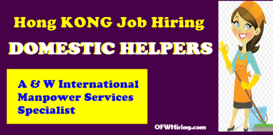 100 Domestic Helper Job Vacancies For Hong Kong Ofw Hiring