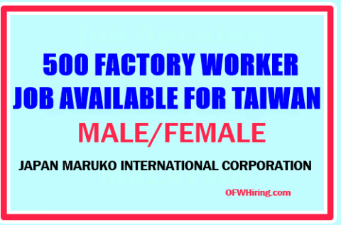 Taiwan-Factory-Worker-Job-Opening-for-Male-and-Female