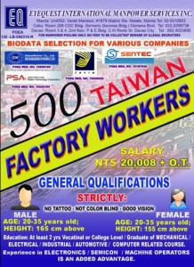 Factory Workers Hiring for Taiwan