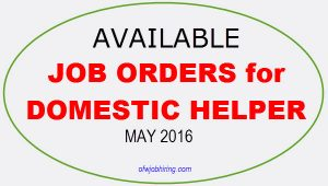 Domestic Helper opening Hong Kong Singapore Saudi Arabia Oman Bahrain