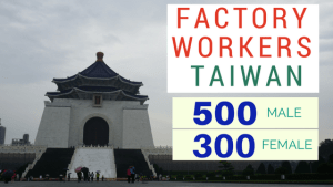 job hiring FACTORY WORKERs TAIWAN 500 male 300 female