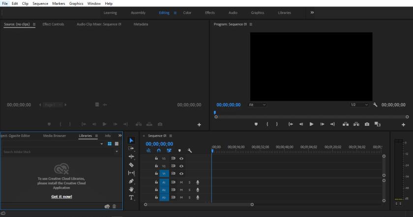 Tampilan Utama Adobe Premiere