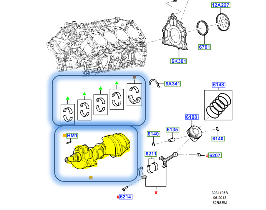Brand New OEM Crankshaft and Bearing Crankshaft Main Std Grade 1 | 6.2L V8 2V DOHC, 2 Pieces, Engine Repair Kit (OG-60-6.2L-2-3)