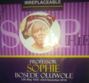Read more about the article FUNERAL ARRANGEMENTS FOR LATE PROF. SOPHIE BOSEDE OLUWOLE