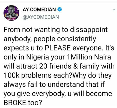 """""""YOU CAN'T GIVE EVERYONE, ELSE U WILL GO BROKE"""" AY SAYS. I TOTALLY AGREE WITH AY BECAUSE…"""