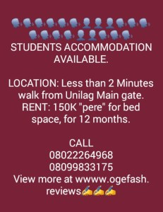 (+HOSTEL PICS) STUDENTS ACCOMMODATION AVAILABLE HERE AT UNILAG…