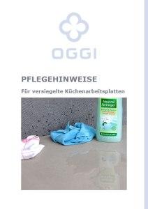 OGGI-Beton: Katalog-PDF Pflegehinweise für versiegelte Küchenarbeitsplatten