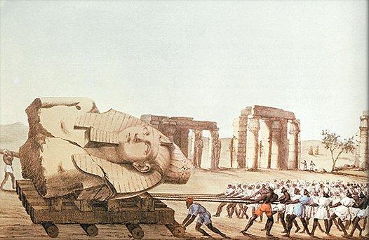 Illustrazione che evidenzia la tecnologia usata per trasportare la statua del Giovane Memnone in un disegno realizzato da Agostino Aglio per il volume che raccoglie i diari di Belzoni pubblicati nel 1821