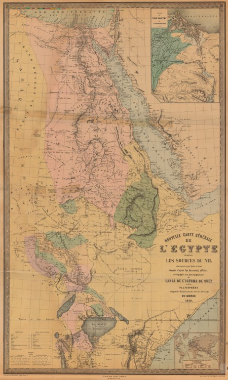 La carta del 1879 che mostra i territori esplorati da Speke e Grant - da: Historic Maps Collection