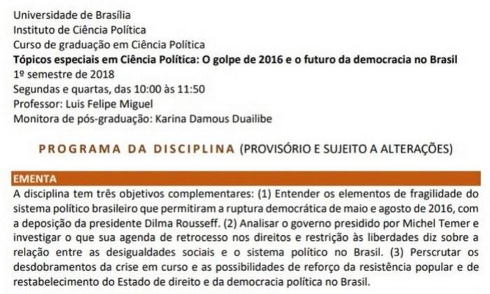"""Ministro da Educação acionará MPF contra disciplina da UnB sobre """"golpe de 2016"""" 16"""
