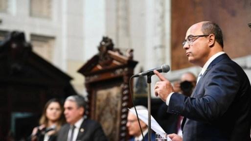Witzel durante discurso de posse Foto: Divulgação ALerj/Thiago Lontra
