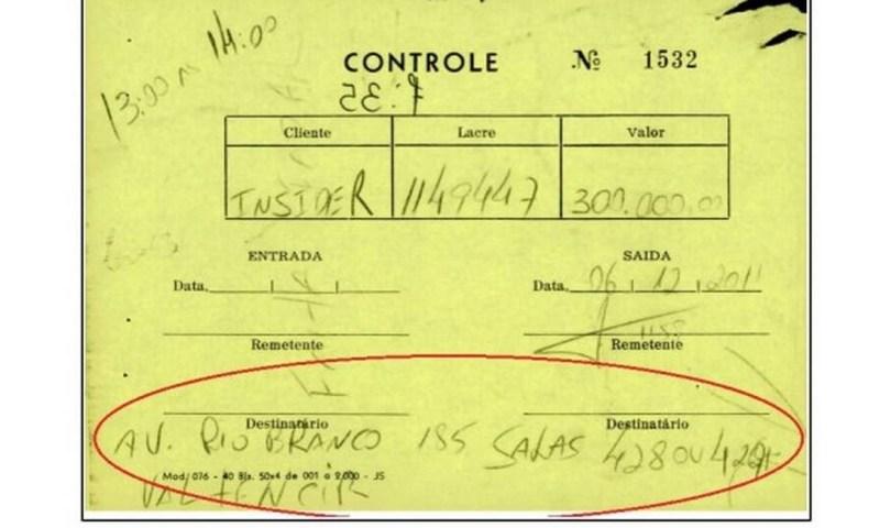Outro documento encontrado no depósito que integra a peça em que o MPF pediu a prisão de Regis Fichtner Foto: Reprodução