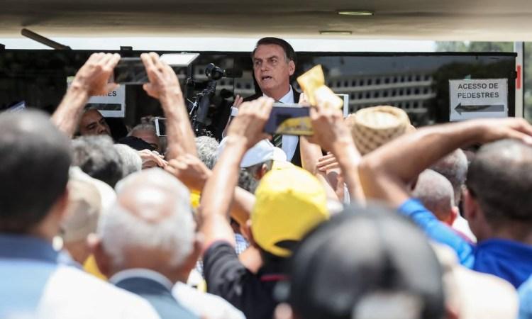 Bolsonaro durante encontro no Palácio do Planalto, com grupo de Garimpeiros Foto: Isac Nóbrega/ Divulgação