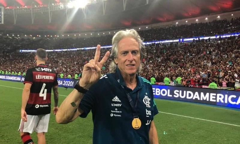 Jorge Jesus comemorando o título do Flamengo Foto: Divulgação/Flamengo