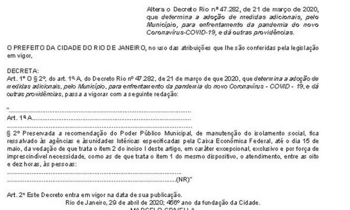 Decreto do prefeito Crivella foi ampliado no Rio Foto: Reprodução/Diário Oficial